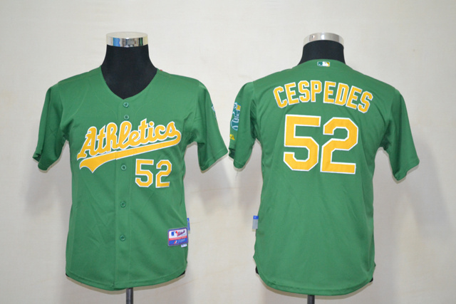 MLB Youth Oakland Athletics 52 Cespedes Green Jerseys