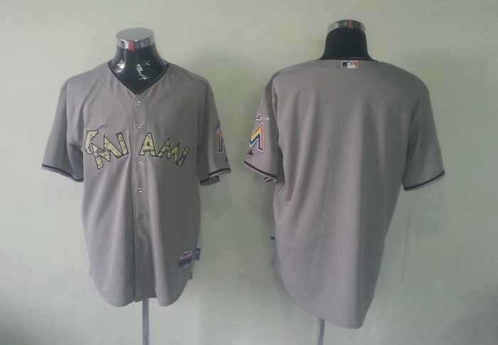 MLB Florida Marlins Blank Grey Camo Jerseys