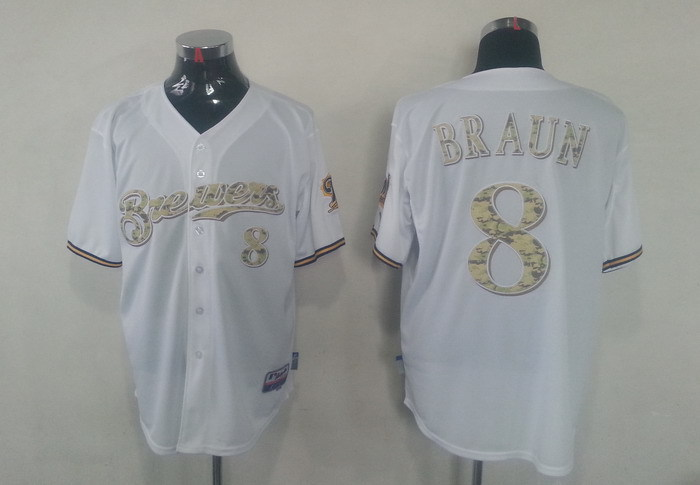 MLB Milwaukee Brewers 8 Ryan Braun White Camo Jerseys
