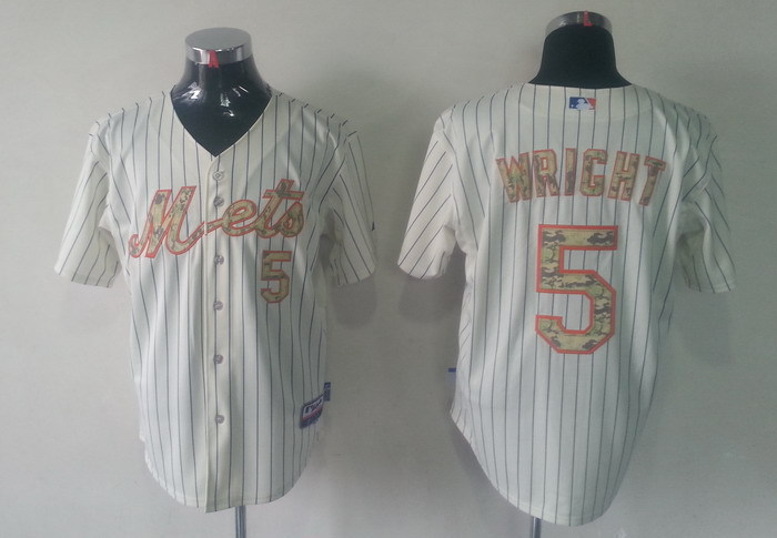 MLB New York Mets 5 David Wright White Camo Jerseys