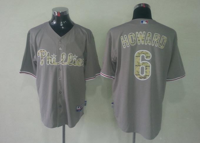 MLB Philadelphia Phillies 6 Ryan Howard Grey Camo Jerseys