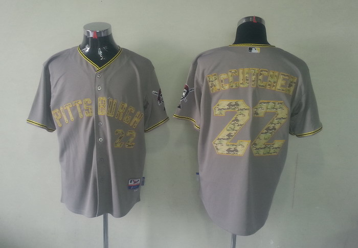 MLB Pittsburgh Pirates 22 Adnrew McCutchen Grey Camo Jerseys