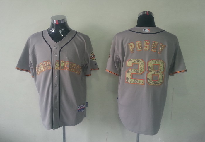 MLB San Francisco Giants 28 Buster Posey Grey Camo Jerseys