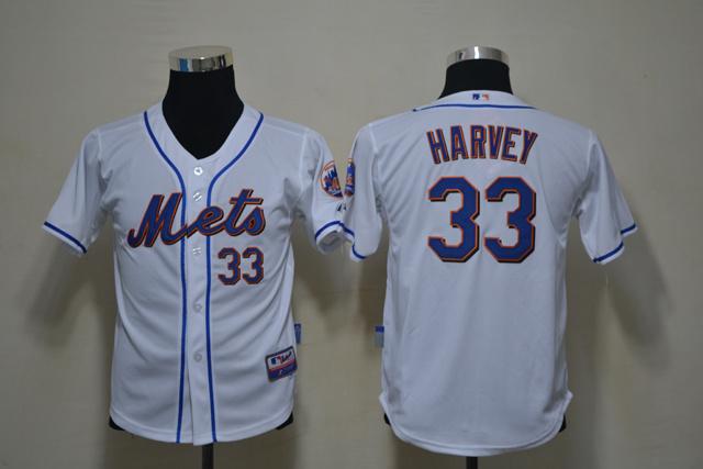MLB Youth New York Mets 33 Matt Harvey White jerseys