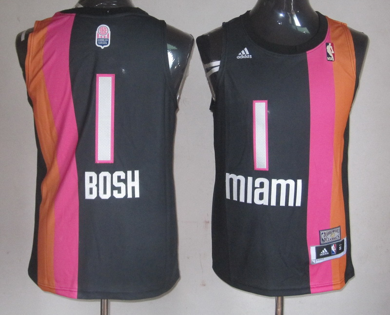 NBA Miami Heat 1 Chris Bosh ABA throwback blakc jersey