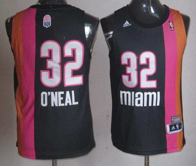 NBA Miami Heat 32 Shaquille O'Neal Florida ABA Black jersey