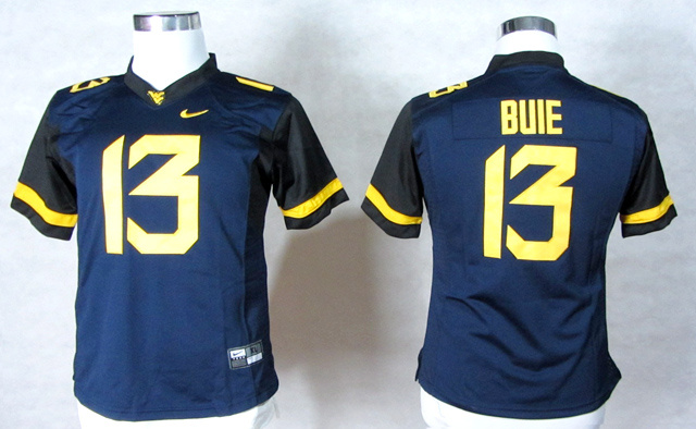 NCAA Womens West Virginia Mountaineers 13 Andrew Buie Blue College Football Elite Jerseys