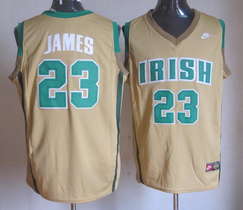NBA NCAA Irish High School 23 Lebron James light yellow jersey