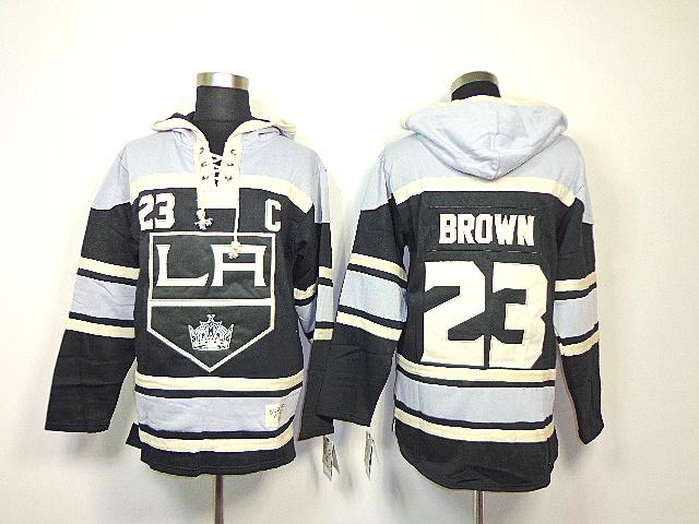 NHL Los Angeles Kings 23 Dustin Brown Black Sawyer Lace Up Pullover Hooded Sweatshirt