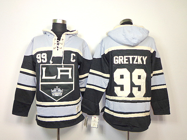 NHL Los Angeles Kings 99 Wayne Gretzky Black Sawyer Lace Up Pullover Hooded Sweatshirt