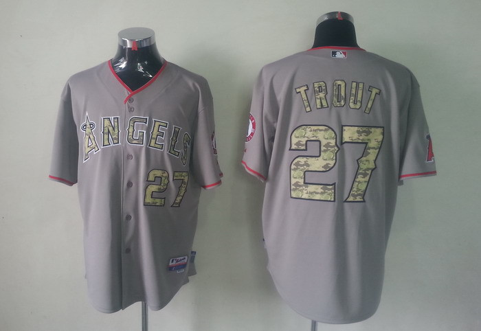 MLB Los Angeles Angels 27 Mike Trout Grey Camo Jerseys