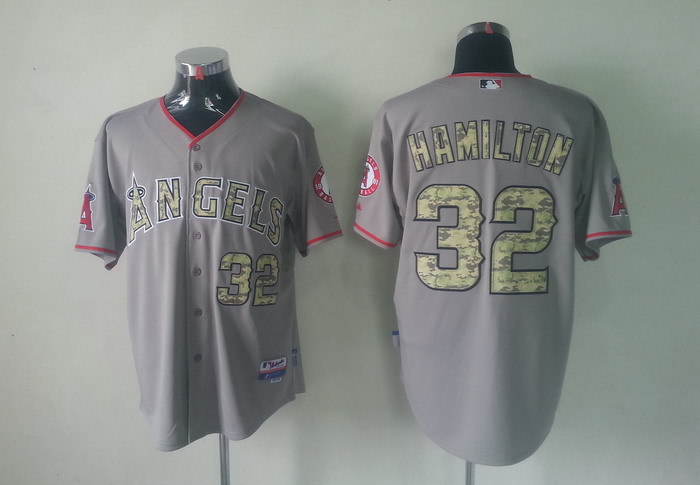MLB Los Angeles Angels 32 Josh Hamilton Grey Camo Jerseys