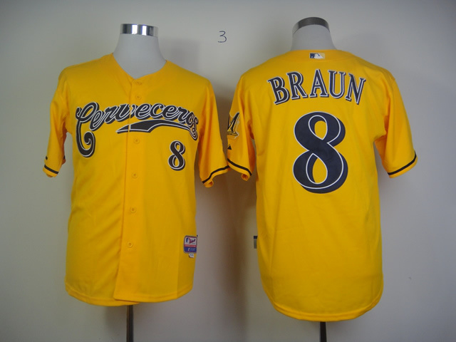 MLB Milwaukee Brewers 8 Ryan Braun Yellow Jersey