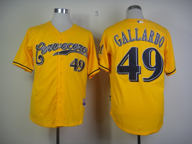 MLB Milwaukee Brewers 49 Yovani Gallardo Yellow Jersey