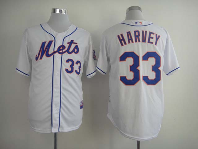 MLB New York Mets 33 Harvey White Jersey