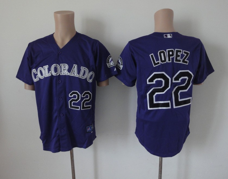 MLB Colorado Rockies 22 Lopez purple Jerseys