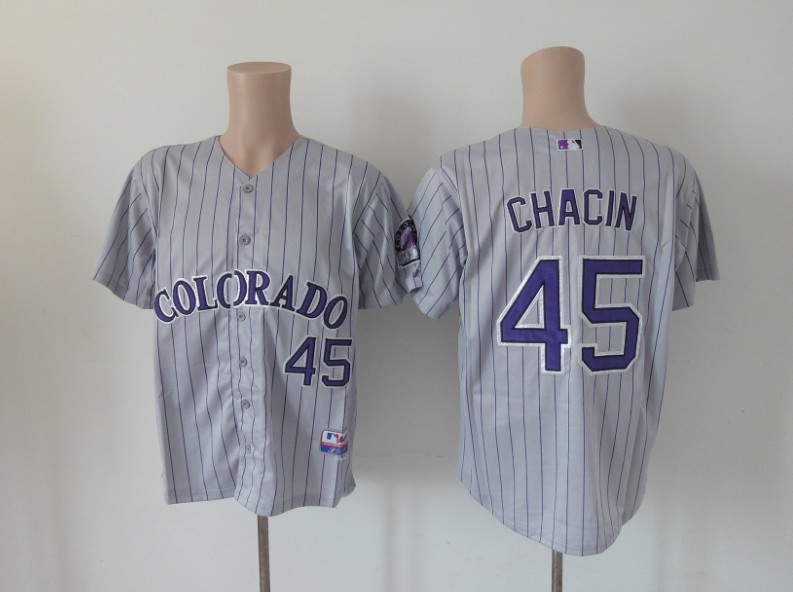 MLB Colorado Rockies 45 Chacin grey Jerseys