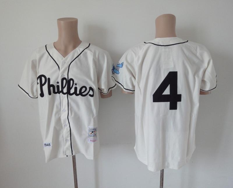 MLB Philadelphia Phillies 4 Jimmie Fox Cream Jerseys