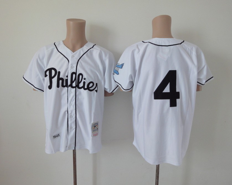 MLB Philadelphia Phillies 4 Jimmie Fox white Jerseys