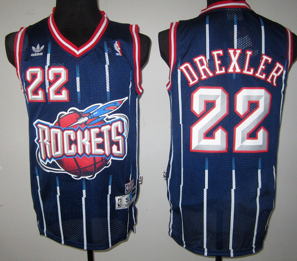 NBA Houston Rockets 22 Clyde Drexler Retro Throwback navy blue with stripe jersey