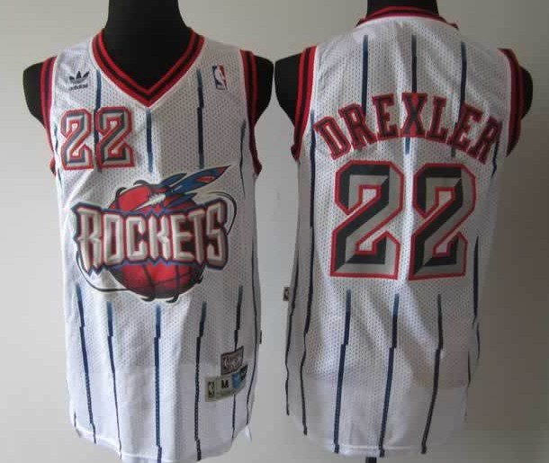 NBA Houston Rockets 22 Clyde Drexler white retro throwback jersey