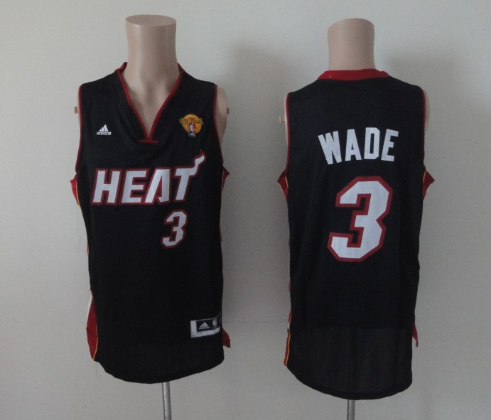 NBA Miami Heat 3 Dwyane Wade Black 2013 Finals Jersey