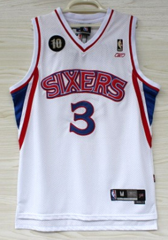 NBA Philadelphia 76ers 3 Allen Iverson 10th Rookie white jersey
