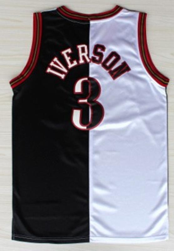 NBA Philadelphia 76ers 3 Allen Iverson Split Special Edition black white jersey