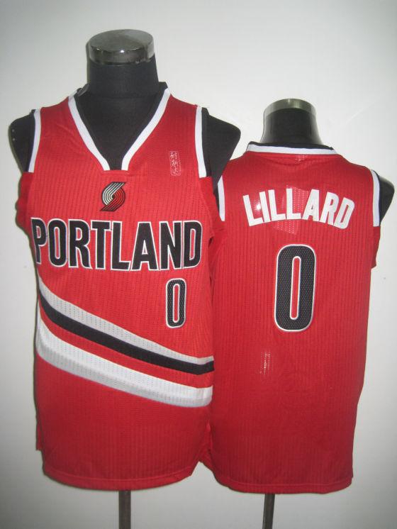 NBA Potland Trail Blazers 0 Damian Lillard 2013 new material red jersey