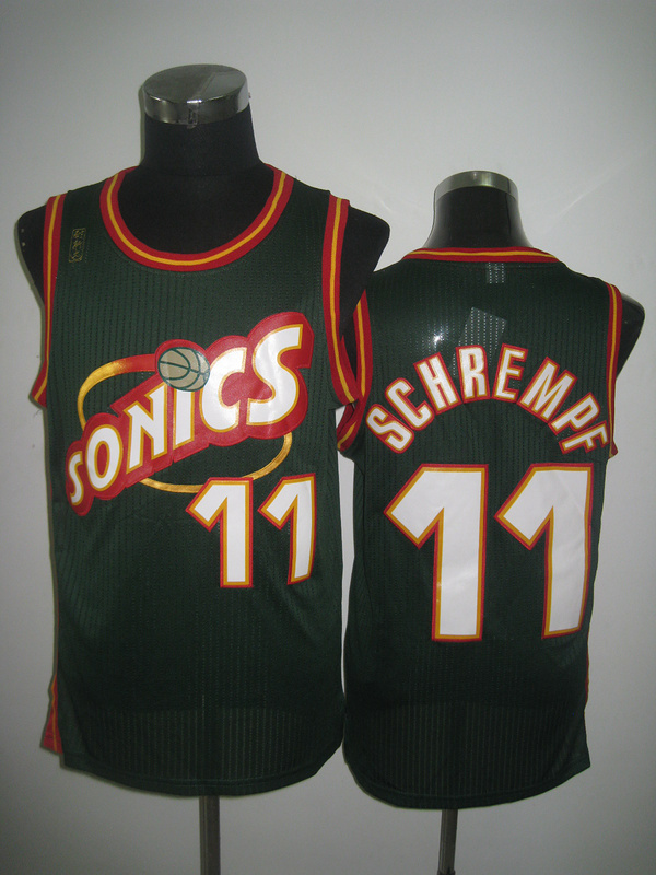 NBA Seattle Supersonics 11 Detlef Schrempf green jersey