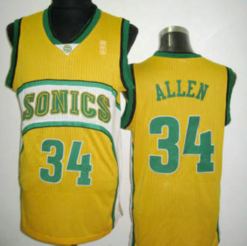 NBA Seattle Supersonics 34 Ray Allen yellow jersey