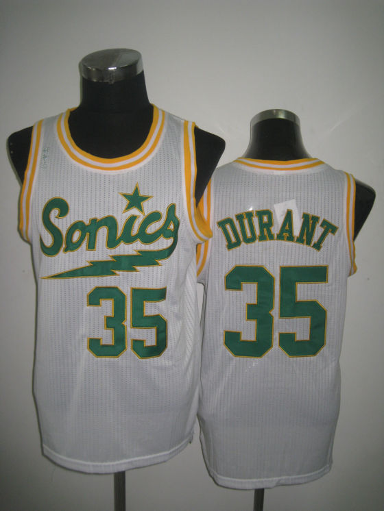 NBA Seattle Supersonics 35 Kevin Durant 2013 new retro throwback white jersey