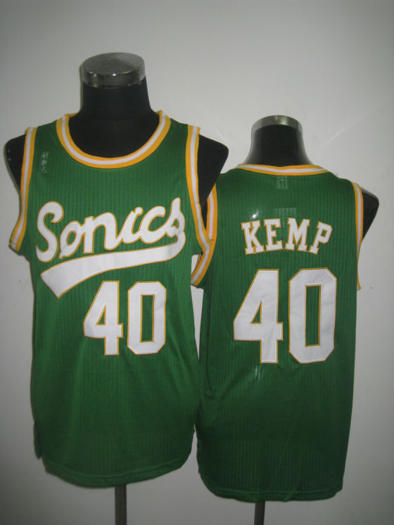 NBA Seattle Supersonics 40 Shawn Kemp 2013 new retro throwback green jersey