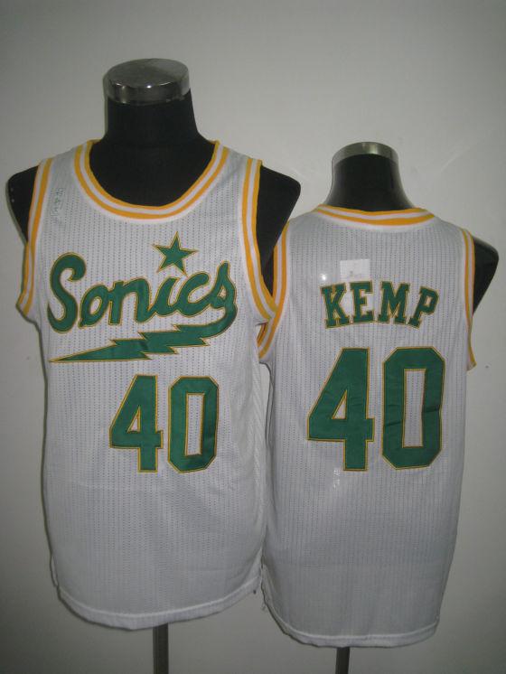 NBA Seattle Supersonics 40 Shawn Kemp 2013 new retro throwback white jersey