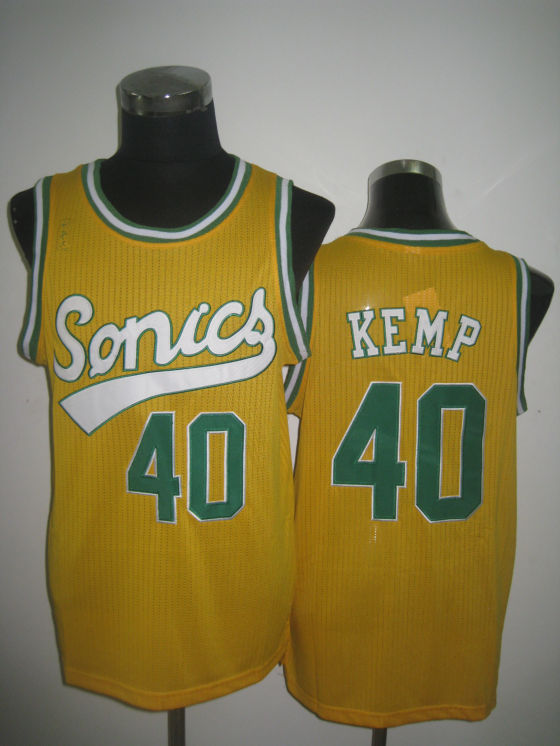 NBA Seattle Supersonics 40 Shawn Kemp 2013 new retro throwback yellow jersey