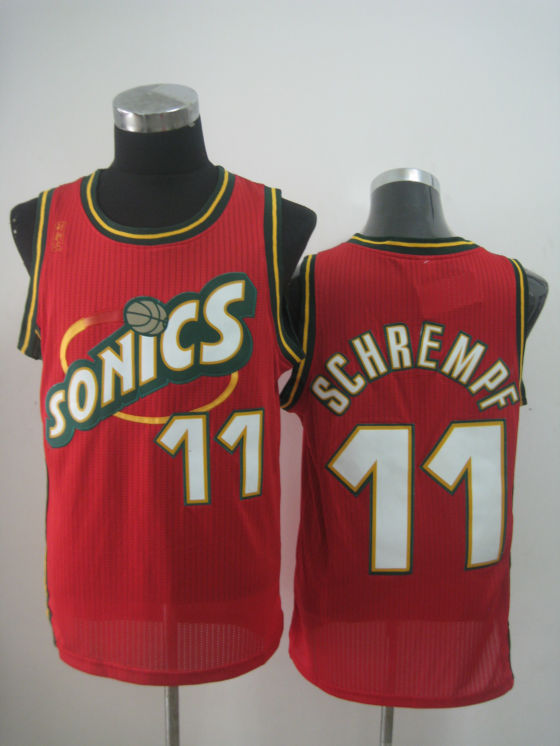 NBA Seattle Supersonics 11 Detlef Schrempf retro throwback red jersey