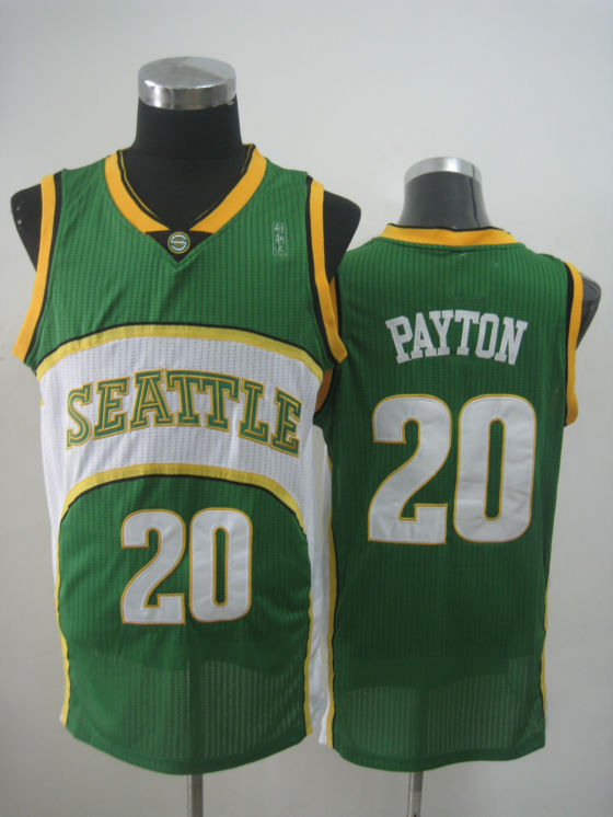 NBA Seattle Supersonics 20 Gary Payton new material green jersey