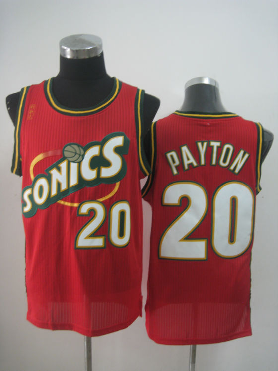 NBA Seattle Supersonics 20 Gary Payton new material red jersey
