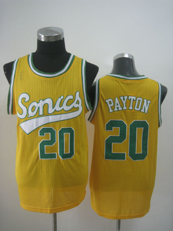 NBA Seattle Supersonics 20 Gary Payton new material retro yellow throwback jersey
