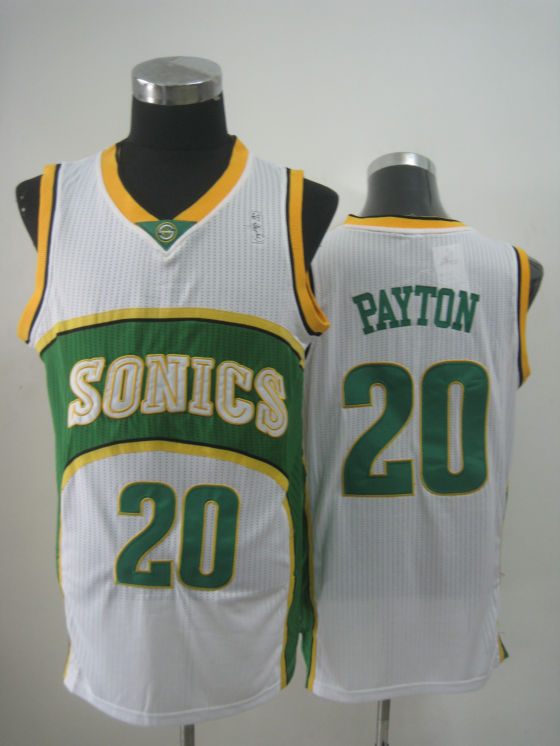NBA Seattle Supersonics 20 Gary Payton new material white jersey