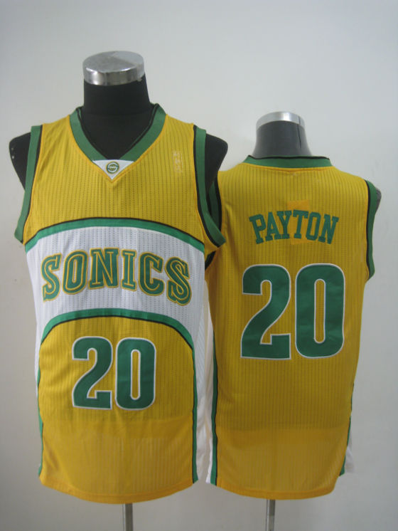 NBA Seattle Supersonics 20 Gary Payton new material yellow jersey