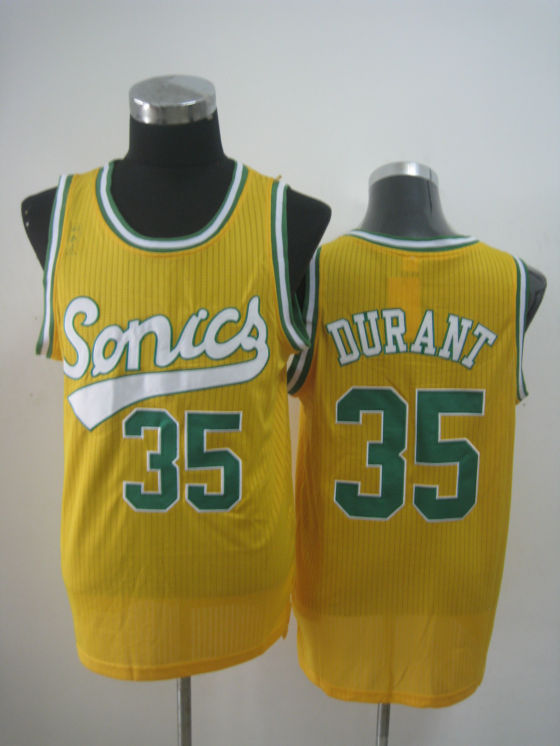 NBA Seattle Supersonics 35 Kevin Durant retro throwback new material yellow jersey