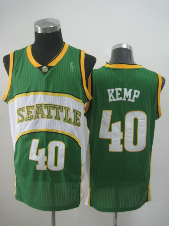 NBA Seattle Supersonics 40 Shawn Kemp new material green jersey