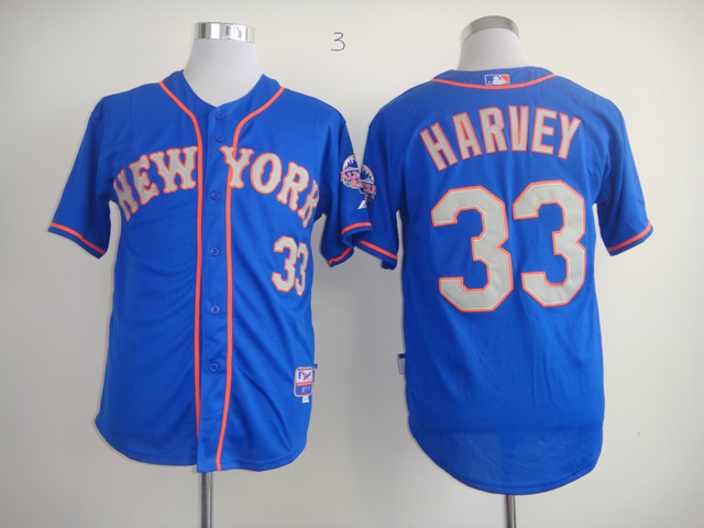 MLB New York Mets 33 Matt Harvey Blue Cool Base Jersey