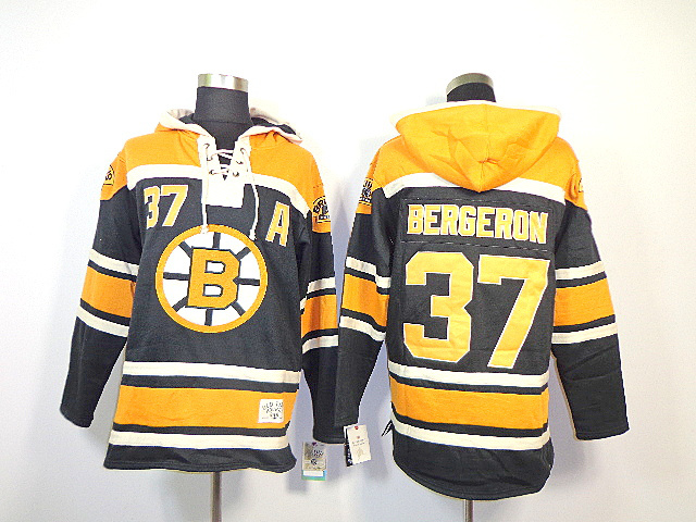 NHL Boston Bruins 37 Patrice Bergeron Black Sawyer Lace Up Pullover Hooded Sweatshirt