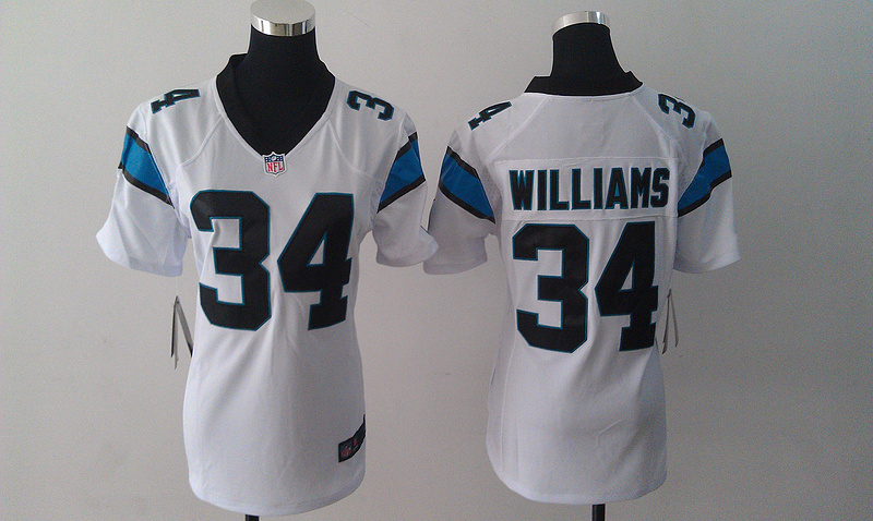 Womens Carolina Panthers 34 DeAngelo Williams White Nike Jersey
