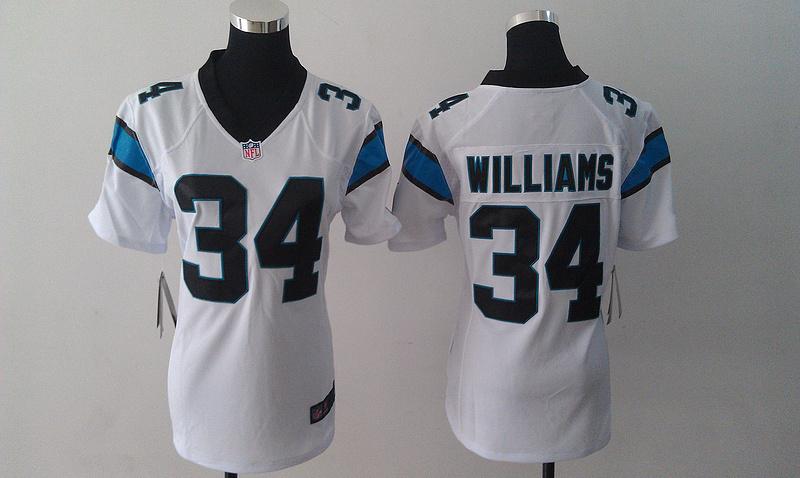 Womens Carolina Panthers 34 DeAngelo Williams White Nike Jersey