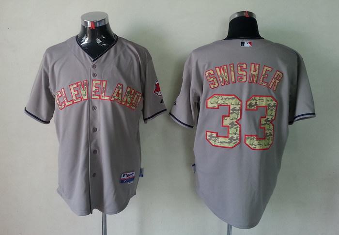 MLB Cleveland Indians 33 Swisher Grey Camo Jerseys