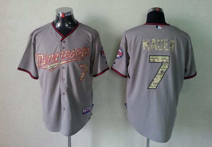 MLB Minnesota Twins 7 Joe Mauer Grey Camo Jerseys