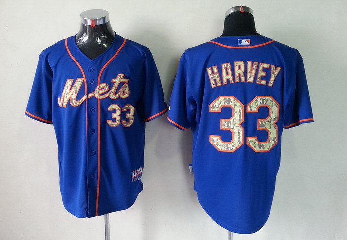 MLB New York Mets 33 Matt Harvey Blue Camo Jerseys